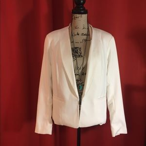ASOS fitted white blazer with tan detail. Size 8
